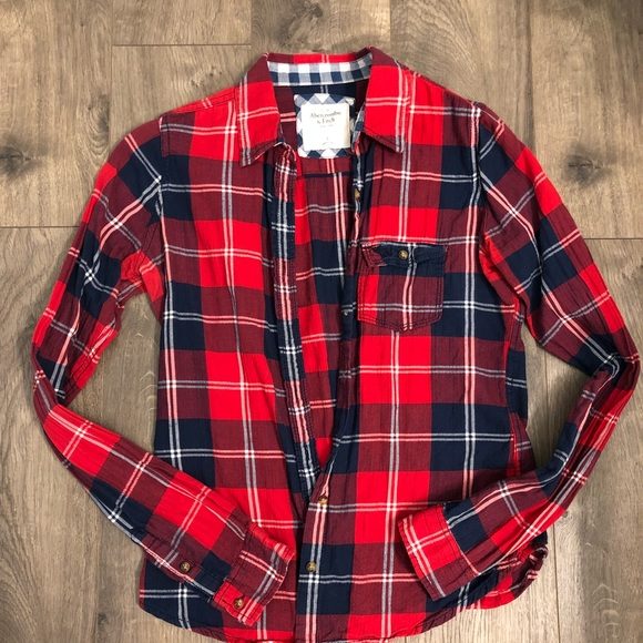 badd4d1831c Abercrombie   Fitch Tops - Red navy blue flannel plaid top Abercrombie size  s